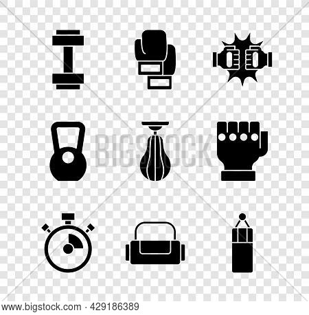 Set Dumbbell, Boxing Glove, Punch Boxing Gloves, Stopwatch, Sport Bag, Punching, Kettlebell And Icon