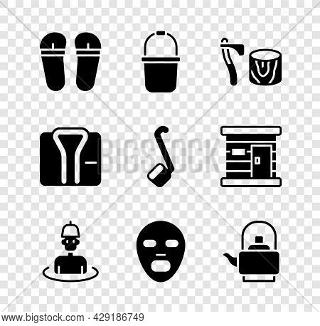 Set Flip Flops, Sauna Bucket, Wooden Axe In Stump, Man The Sauna, Facial Cosmetic Mask, Kettle With