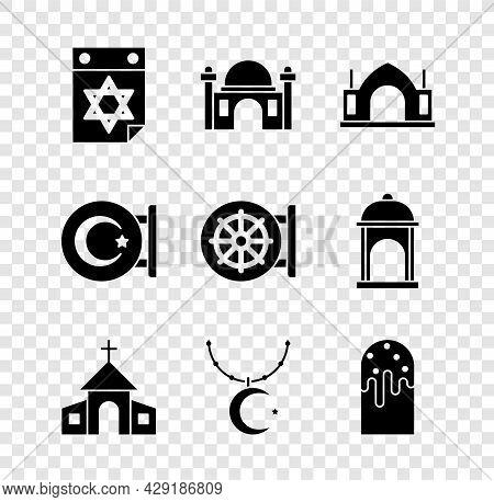 Set Jewish Calendar, Muslim Mosque, Hindu Spiritual Temple, Church Building, Star And Crescent On Ch