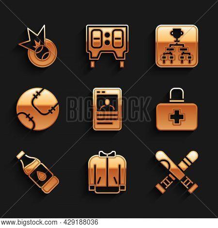 Set Baseball Card, T-shirt, Crossed Baseball Bat, First Aid Kit, Bottle Of Water, Championship Tourn
