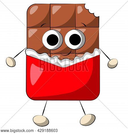 Cute Cartoon Chocolate Character In Wrapper. Draw Illustration In Color