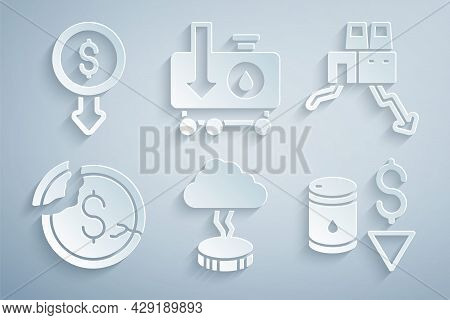 Set Storm, Shutdown Of Factory, Dollar Rate Decrease, Drop In Crude Oil Price, And Icon. Vector