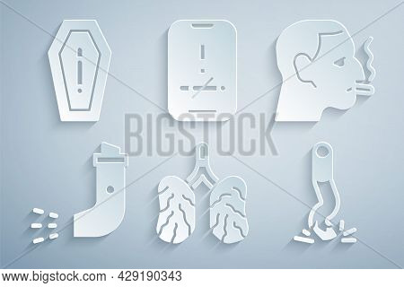 Set Disease Lungs, Man Smoking Cigarette, Inhaler, Cigarette Butt, No And Death From Icon. Vector