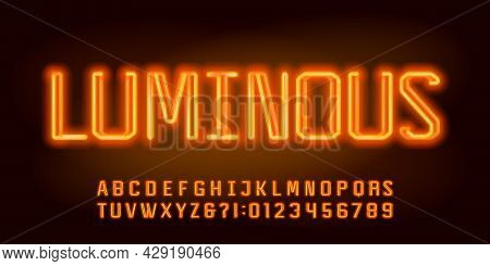 Luminous Alphabet Font. Neon Color Letters And Numbers. Stock Vector Typescript For Your Design.