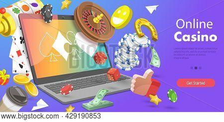 3d Vector Conceptual Illustration Of Online Casino, Online Gambling Platform