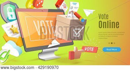 3d Vector Conceptual Illustration Of Vote Online, Internet Election System