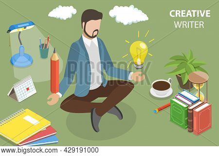 3d Isometric Flat Vector Conceptual Illustration Of Creative Writer , Blog Articles Creation