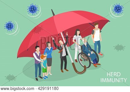 3d Isometric Flat Vector Conceptual Illustration Of Herd Immunity, Social Immunization Campaign