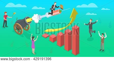 3d Isometric Flat Vector Conceptual Illustration Of Post Pandemic Covid-19 Economic Recovery, Goverm