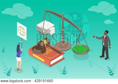 3d Isometric Flat Vector Conceptual Illustration Of Energy Legislation And Policy, Protecting Planet