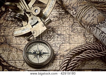 old map and cooper compass with cord poster