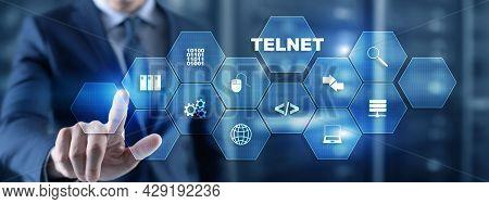 Telnet Virtual Terminal Client. Internet And Network Concept. Teletype Network Protocol
