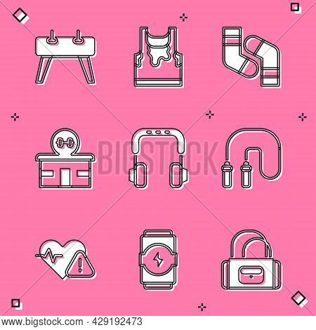 Set Pommel Horse, Sweaty Sleeveless T-shirt, Socks, Gym Building, Headphones, Jump Rope, Heart Rate