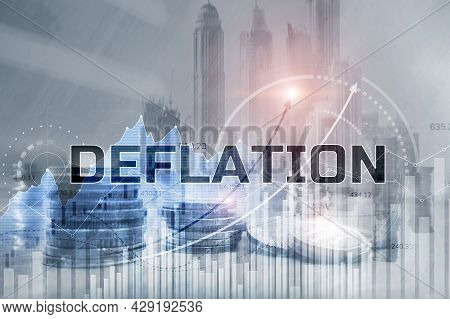 Deflation Concept. General Decline In Prices For Goods And Services
