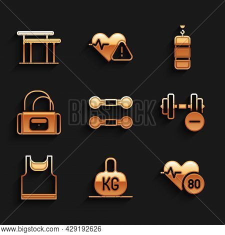 Set Dumbbell, Weight, Heart Rate, Sleeveless T-shirt, Sport Bag, Punching And Uneven Bars Icon. Vect