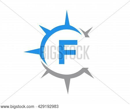 Compass Logo Design With F Letter Concept. Compass Concept With F Letter  Typography