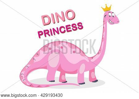 Princess Dinosaur Animal Vector Illustration. Cartoon Dinosaur Pink Brachiosaurus. Pink Dinosaur For