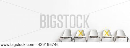 Seats marked with an x for social distancing during Covid-19