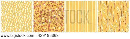 Collection Of Red Yellow Forest Elements Seamless Patterns. Vector Leaves Oak Maple Aspen Apple Oran