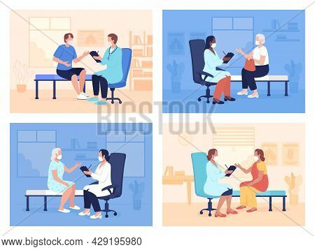 Routine Doctor Appointment Flat Color Vector Illustrations Set. Visiting Health Center And Local Hos