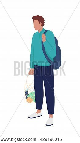 Young Man With Reusable String Bag Semi Flat Color Vector Character. Full Body Person On White. Shop
