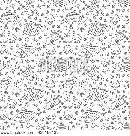 Seamless Pattern On A Marine Theme With Dark Contour Fishes And Shells, Outline Fish On A Dark Backg