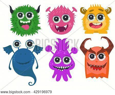 Monsters Cartoon. Funny Cute Little Monster Set. Vector