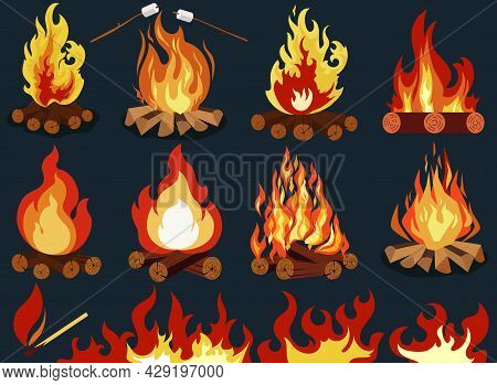 Bonfire - Camping, Burning Woodpile, Campfire Or Fireplace. Vector