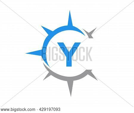 Compass Logo Design With Y Letter Concept. Compass Concept With Y Letter Typography
