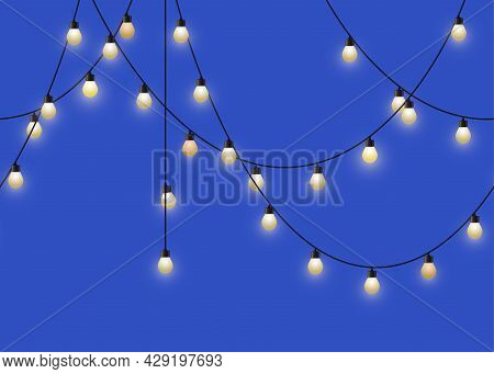 Glowing Light Bulb Garland. Repeated Decorative Lamp Garland. Wall Decor For Party. Vector
