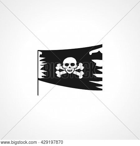 Jolly Roger Icon. Pirate Flag Sea Simple Isolated Black Vector Icon.