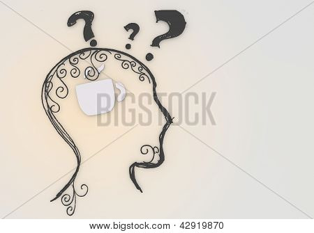 psychological coffee pictogram inside a painted head