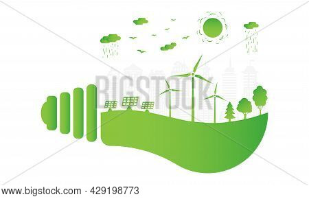 Silhouette Green City With Renewable Energy Sources. Ecological City And Environment Conservation. G