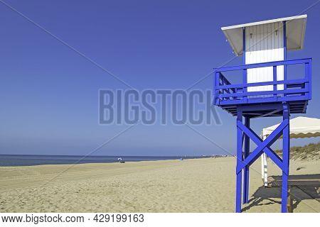 Lifeguard Post On The Beach Of Casita Azul In Isla Cristina, Huelva, Andalusia, Spain