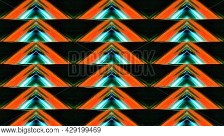 Triangular Pattern With Luminous Lines. Motion. Kaleidoscopic Pattern Of Triangles Shimmering With N