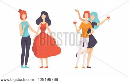 Female Friend Spending Time Together Gossiping And Drinking Wine Vector Set