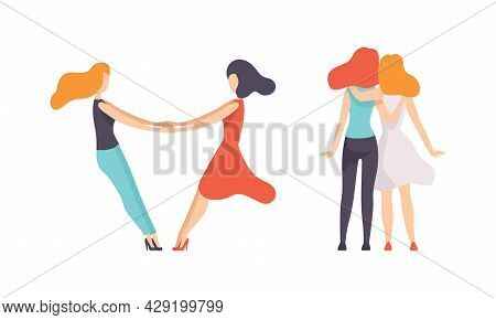 Female Friend Spending Time Together Embracing And Holding Hands Vector Set