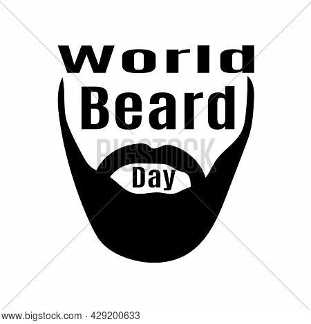 World Beard Day, Stylized Beard With Mustache For Poster Or Banner Vector Illustration