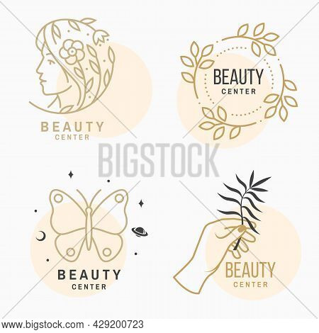 Set Of Beauty Center Emblem With Woman Face And Flower With Leafs. Beauty Center Label, Badge, Sign