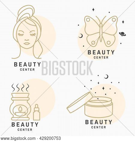 Set Of Beauty Center Emblem With Woman Face, Ceramic Candle Aroma Oil Lamp, Cosmetic Cream, Butterfl