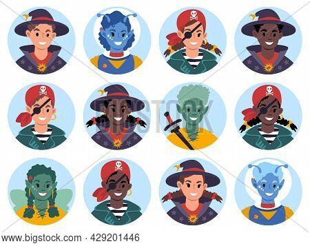 Avatars Of Children In Masquerade Costumes. Flat Style Illustration