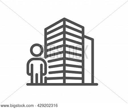 Agent Line Icon. Real Estate Realtor Sign. Building Architect Symbol. Quality Design Element. Linear