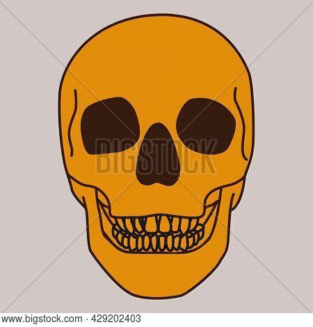 Halloween Skull Dark Background Orange Skull Happy Halloween Poster, Cover, Scrapbooking, Notepad, A