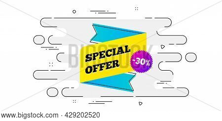 Special Offer Sticker. Geometric Ad Banner On Flow Pattern. Discount Banner Shape. Sale Coupon Icon.