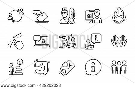 People Icons Set. Included Icon As Friends Chat, Like, Washing Hands Signs. Love Letter, Thermometer