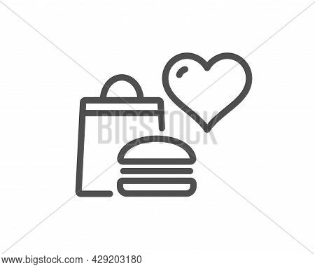 Food Donation Line Icon. Charity Sign. Charitable Organization Symbol. Quality Design Element. Linea
