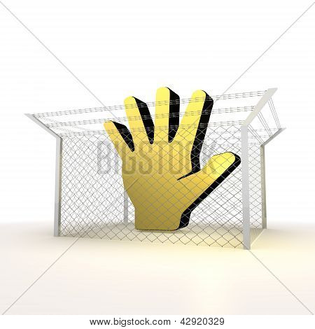 Yellow forbidden hand sign in net fenced and arrested