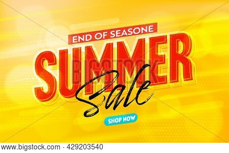 Summer Sale Banner Or Poster Template To End Of Season. Cheap Price Offer Promotion Coupon, Special