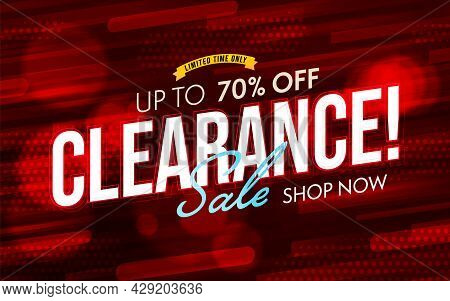 Clearance Sale Up To 70 Percent Banner Template Design. Promotion Poster With Wholesale Condition Ad