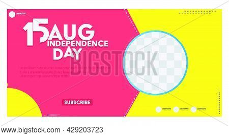 15th August Happy Independence Day India Illustration. Youtube Thumbnail Design Template
